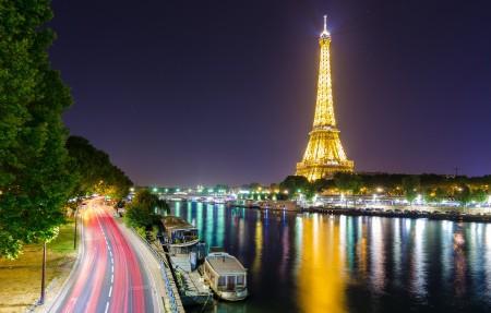 埃菲尔铁塔,河流,法国巴黎的塞纳河,灯,城市风景高端电脑桌面壁纸