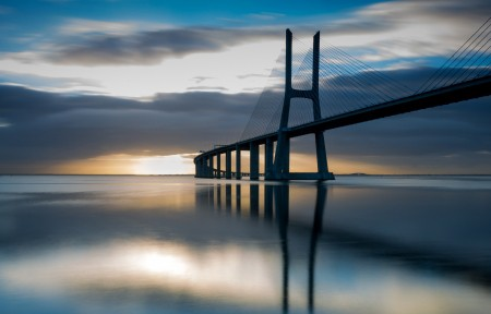 天空,河,大桥,3440x1440风景高端电脑桌面壁纸