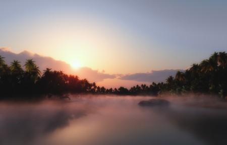 湖,树林,日出风景4k高端电脑桌面壁纸