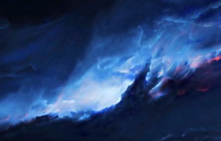 梦幻星空星云风景3440x1440高端电脑桌面壁纸