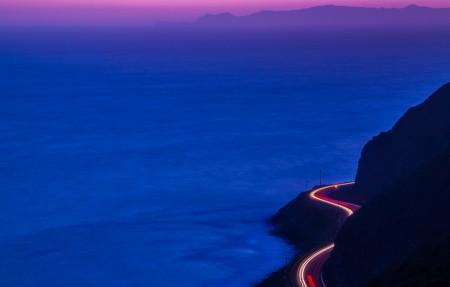 太平洋海岸公路黄昏风景4K高端电脑桌面壁纸