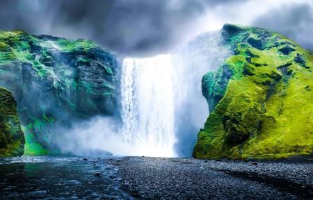 冰岛瀑布风景3440x1440高端电脑桌面壁纸