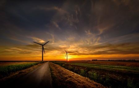日落,路,风车,4K风景超高清壁纸精选 3840x2160