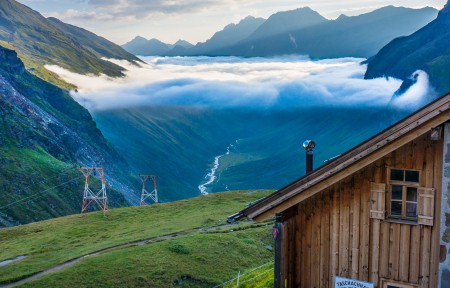奥地利山谷日出风景3440x1440高清壁纸极品游戏桌面精选