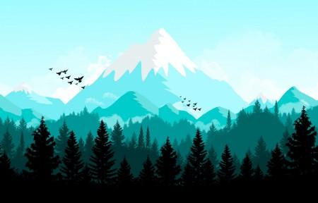 森林山地风景3440x1440高端电脑桌面壁纸