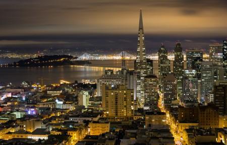 SF夜间天际线全景 美丽的城市夜景3840x2160高清高端电脑桌面壁纸