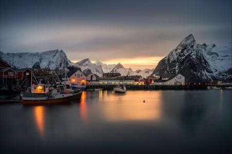 冬天,山脉,挪威,码头,房子,雪,哈姆诺伊村,4K风景高端电脑桌面壁纸
