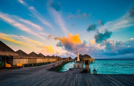 天空,海,平房,马尔代夫风景6K高端电脑桌面壁纸