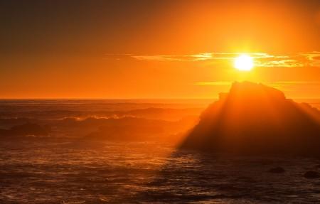 日落的好地方阿拉哥角,俄勒冈州,金色日落风景4K高端电脑桌面壁纸