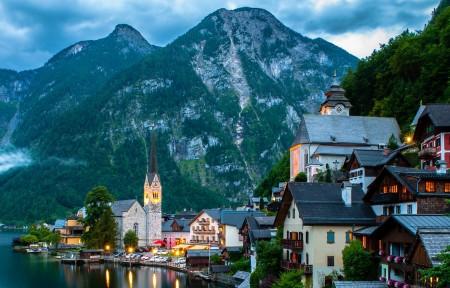 奥地利哈尔施塔特湖小镇风景3440x1440高端电脑桌面壁纸