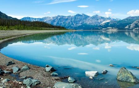 加拿大山脉 绿树 湖 4K风景高端电脑桌面壁纸