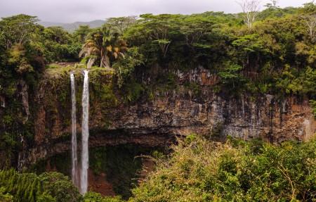 毛里求斯,树木,悬崖,丛林,瀑布,4K风景高端电脑桌面壁纸