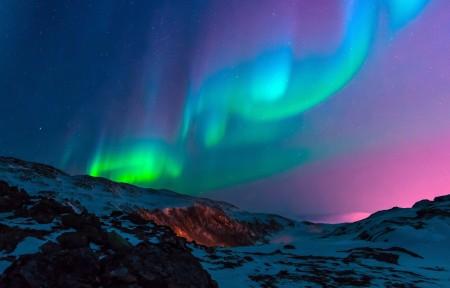 迷人,山脉,夜空,北极光4k风景高端电脑桌面壁纸