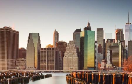 纽约布鲁克林大桥公园3440x1440风景高端电脑桌面壁纸