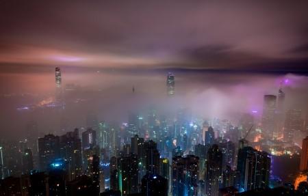 香港摩天大楼城市夜景4k高端电脑桌面壁纸