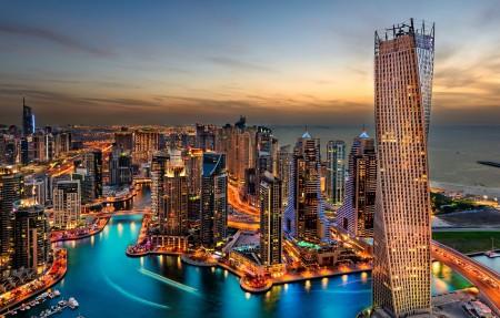 迪拜,海港,夜晚,旅游,酒店,迪拜夜景4K高清高端电脑桌面壁纸