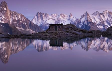 寂静的高山湖泊小屋3440x1440风景超高清壁纸精选