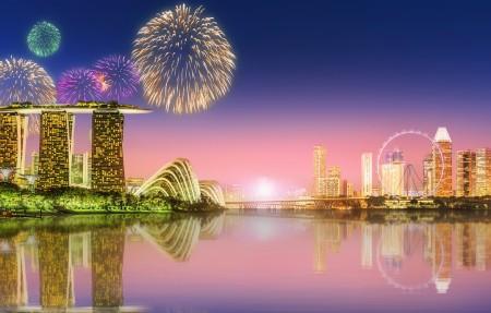 新加坡,夜晚,城市夜景4k高端电脑桌面壁纸