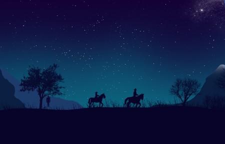 夜晚,山,星空,人,马,3440x1440风景高端电脑桌面壁纸