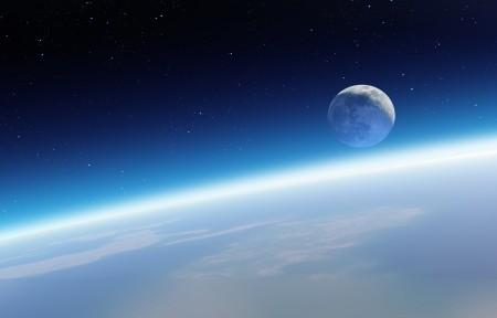 地球和月亮5K高端电脑桌面壁纸5120x2880