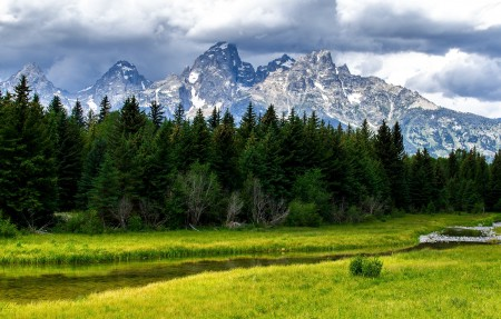 大提顿国家公园,高峰,树林,小河流,美丽的自然风景3840x2160高端电脑桌面壁纸