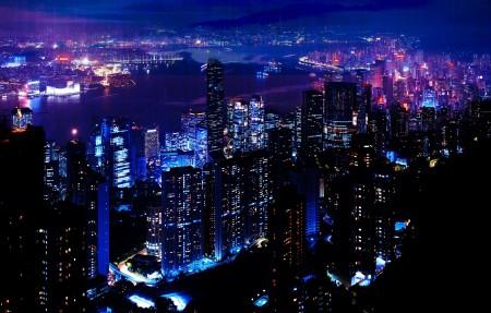 夜城,摩天大楼4k风景高端电脑桌面壁纸