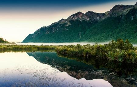 新西兰镜湖4k风景高端电脑桌面壁纸