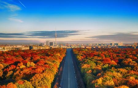 德国柏林的天际线风景3440x1440高端电脑桌面壁纸