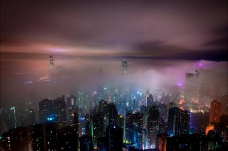 云海 霧 云 山 香港 金融 建筑 晚上 香港夜景5K高端电脑桌面壁纸