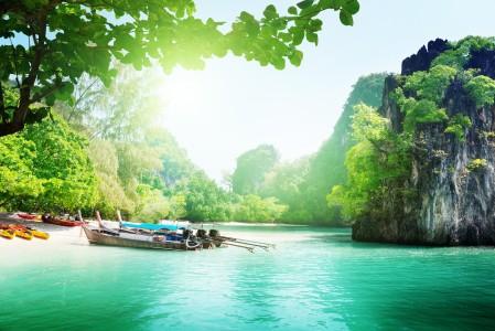 泰国,海,湖,船,树木,天空,云,4k风景高端电脑桌面壁纸