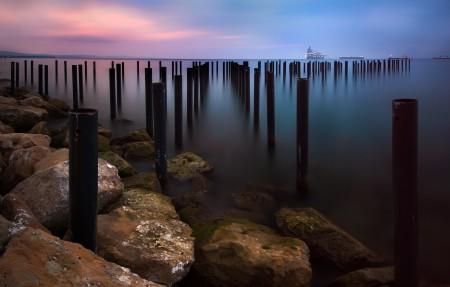 走向海洋 早晨 地平线 日出 3840x2160海边风景高端电脑桌面壁纸