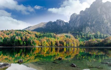 奥地利 自然 天空 山 湖水 4K风景高端电脑桌面壁纸