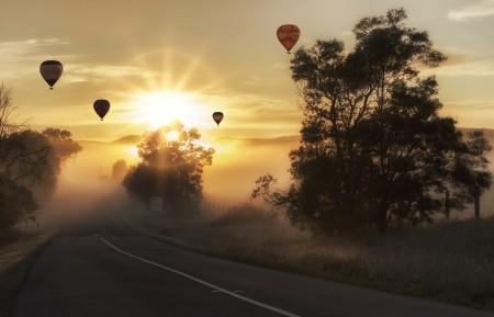 气球 热空气 天空 飞行 交通 空气 乐趣 5K风景高端电脑桌面壁纸