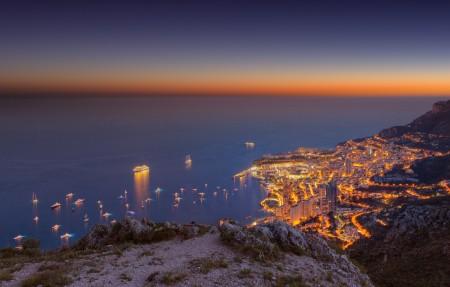 摩纳哥 日落暮光之城 4K风景高端电脑桌面壁纸