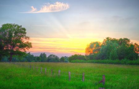 农村 阳光 树木 围墙 天空 草地 云彩 日落 5K风景高端电脑桌面壁纸