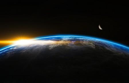 日出 空间 世界 地球 太阳 阳光 闪光 4K高端电脑桌面壁纸