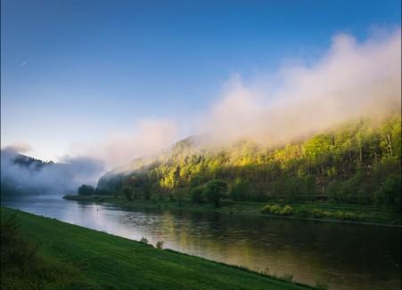 雾 河 易北河 太阳 景观 水 上午 浪漫 冷 天空 春天 日出 5K风景高端电脑桌面壁纸