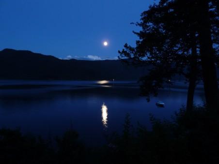 月亮 月亮照耀 卡尼姆湖 丘陵 湖 树 夜景 4K高端电脑桌面壁纸