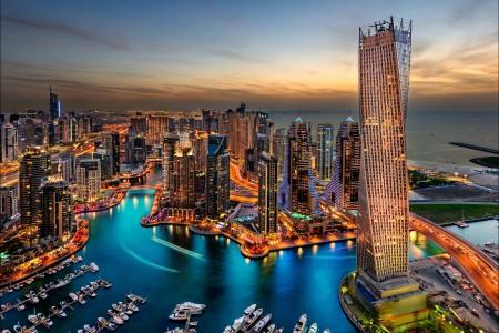 迪拜,建筑,摩天大楼,夜景 6K摄影图片