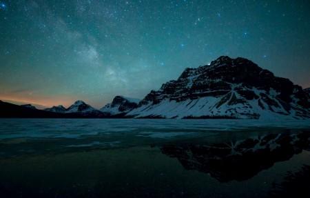 加拿大班芙国家公园弓湖夜晚星空4K风景超高清壁纸精选