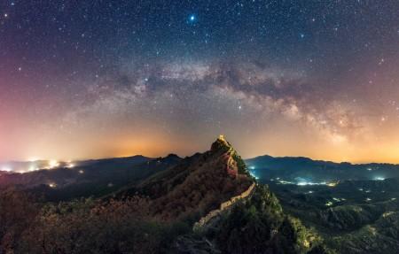 长城 银河 天空 山脉 星空3840x2160高端电脑桌面壁纸