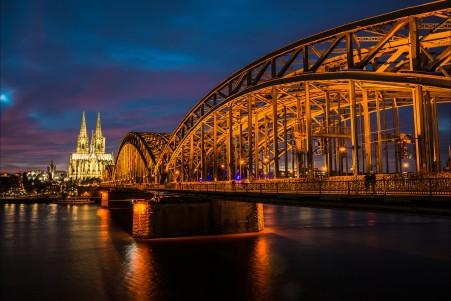 科隆 莱茵 晚上 桥 大教堂 5K风景高端电脑桌面壁纸