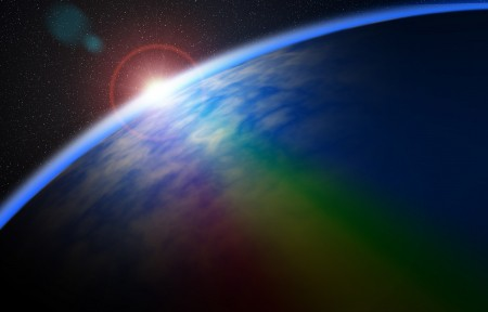 彩虹 空间 星星 行星 日出 4K风景高端电脑桌面壁纸