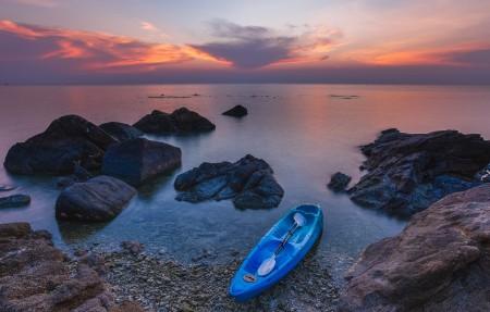 帕岸岛日落 皮划艇 4K风景高端电脑桌面壁纸