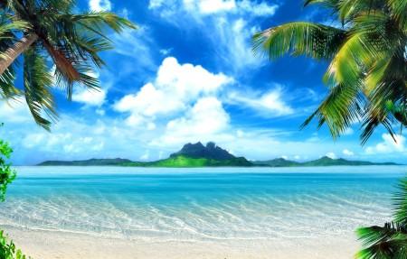 海洋 小岛 椰树 天空 4K风景高端电脑桌面壁纸3840x2160