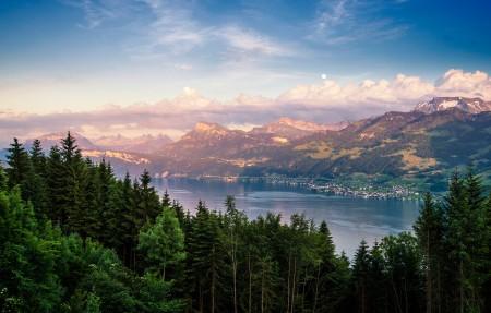 瑞士苏黎世湖4K风景高端电脑桌面壁纸