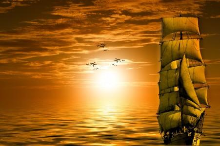 太阳 船舶 大海 海洋 海鸥 天空 云 日落 黄昏 6K风景高端电脑桌面壁纸