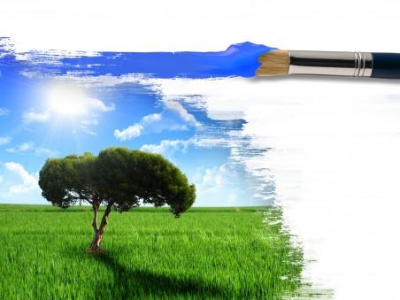阳光 树 画笔 艺术 设计4K高端电脑桌面壁纸
