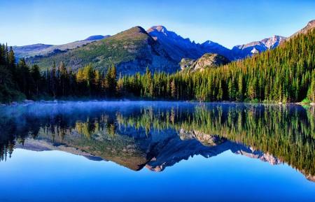 天空 湖 山 森林 4K风景高端电脑桌面壁纸