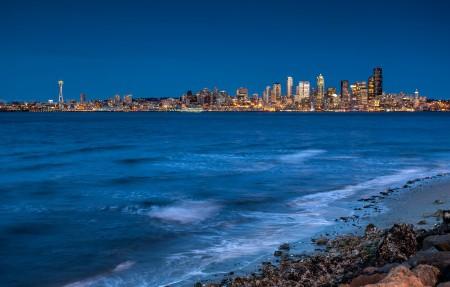 西雅图海滩4K风景高端电脑桌面壁纸